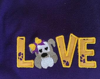 School/teacher bulldog love appliqued TSHIRT