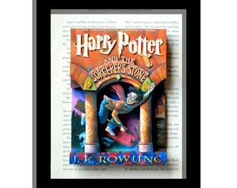 SALE- Harry Potter and The Sorcerer's Stone - - 3D Illustration Book Cover Sculpture 8x10x3 shadowbox framed