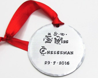 Mr & Mrs Christmas Ornament, Wedding Ornament, Personalized Christmas Ornament, Hand Stamped Custom Ornament, Personalized Ornament, Metal