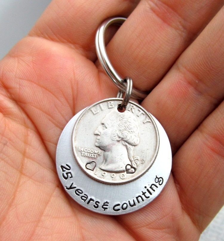Anniversary Gift Personalized Keychain Hand By