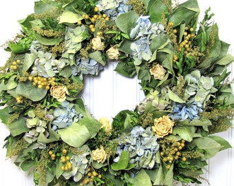 Dried Floral Wreath, Hydrangea Wreath, Cottage Decor
