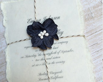 Seeded Paper with Black Flower Wedding Invitation