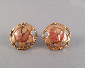 Vintage Gold and Peach Enamel Post Earrings 7/8 Inches Wide
