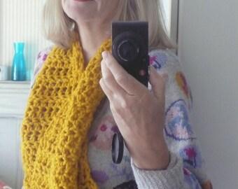 Bright mustard yellow crochet chunky scarf