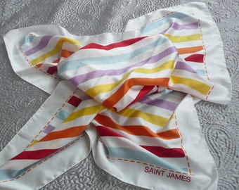 Silky striped scarf Saint James perfect for holidays....white red orange duck egg blue yellow