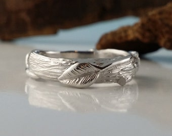 RESERVED LISTING: Twig Wedding Band with Leaves in Sterling Silver