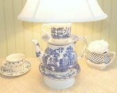 Teapot Lamp,  Blue Willow English China Teapot, Floral Teacup and Saucers, Shabby Chic, Alice in Wonderland Inspired