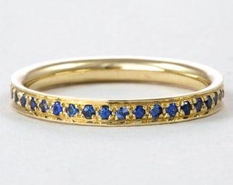 Blue Sapphire Ring Blue Sapphire Wedding Band Sapphire Band Blue Multistone Ring Multi stone Ring Sapphire Gemstone Ring Blue Gemstone Ring