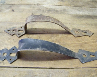 Vintage Pair Arts Crafts Mission Gothic Rustic Barn Shed Garden Gate Handles