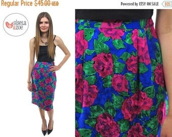 On Sale - 80s Silk Floral High-Waist Pencil Skirt ΔΔ Vintage Abstract Rose Print Skirt ΔΔ sm / md