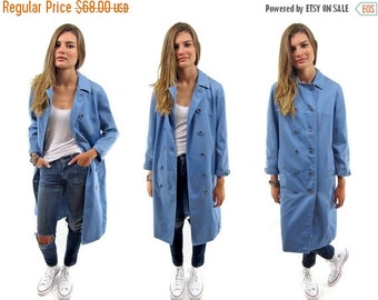 On Sale - Vintage 60s Trench Coat, Double-Breasted Trench, Midi Rain Coat, Blue Sky Coat Δ fits sizes: xs / sm / md