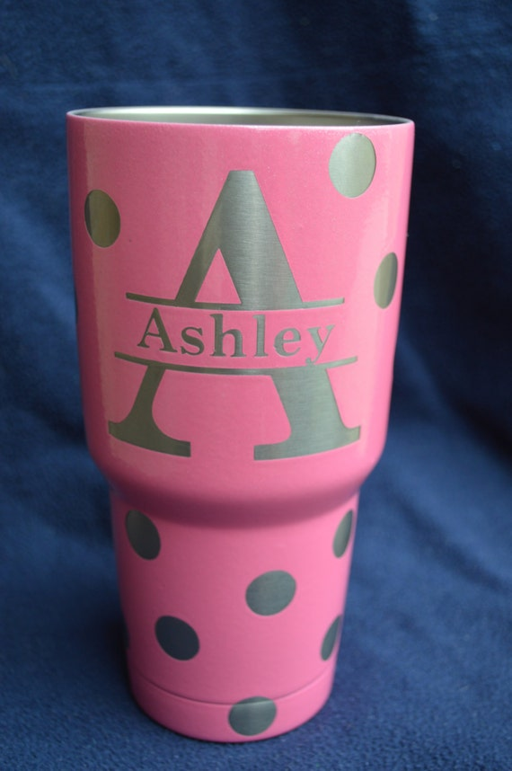 Rtic 30 Oz Tumbler Custompolka Dot With Initials By