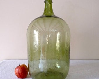 19th Century French Antique Demijohn, French Hand-blown Glass - antique demijohn - french wine green bottle - wine