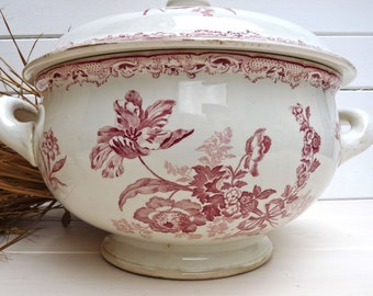 French antique tureen French Tureen Flower -- Pink flower Flower - French ironstone - french Transferware