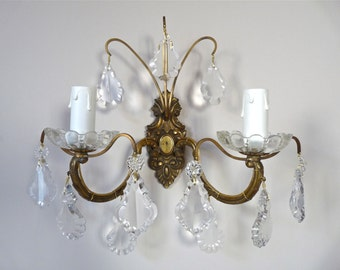 Adjusted Bulbs US French Antique Genuine Bronze Sconce French Antique Wall lighting with crystal - french Crystal Sconce