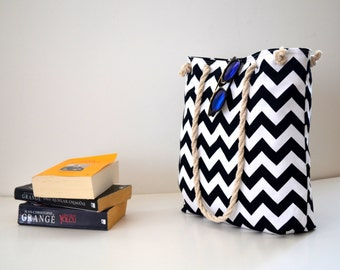 Black   Chevron / Zigzag   shoulder bag  ,Beach bag  ,Summer bag  Student Backpack,travel  Backpack/Travel,School,Daily bag /