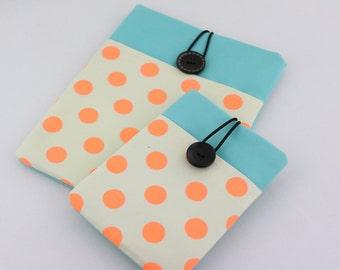iPad mini / iPad Case, iPad Sleeve, iPad Cover, PADDED - Orange Polka Dots