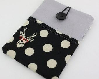 iPad mini / iPad Case, iPad Sleeve, iPad Cover, PADDED, with pockets - Polka Dots and Deers