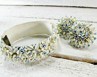 Vintage Carved Celluloid Bracelet Earrings Set, Blue Flowers Rhinestones, Screw-Back Earring, Hinged Clamper Bracelet, 1950s Costume Jewelry