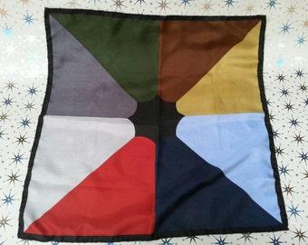 1950s Silk Handkerchief By Manhattan Mid Century MCM Retro Rockabilly Retro Geometric Pattern Colour Block Mod