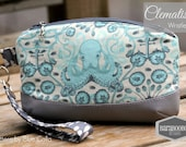 Clematis Clutch with wrist strap, key fob, in Tula Pink Saltwater Octogarden, purse, pouch, blue, aqua,octopus, white