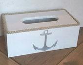 Nautical Tissue Cover - Nautical Tissue Box - Anchor Tissue Holder- White and Silver Tissue  Holder - Nautical Rope Tissue Holder - Cover