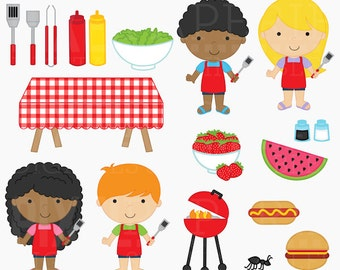 bbq clipart digital clip art outdoors summer - Backyard BBQ Digital Clipart