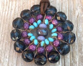 Hippie Flower Pendant Necklace / Boho Flower / Hippie Necklace / Christmas Gift