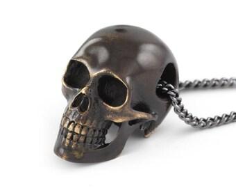 """Human Skull Necklace - Black Skull Pendant on 24"""" Gunmetal Chain"""