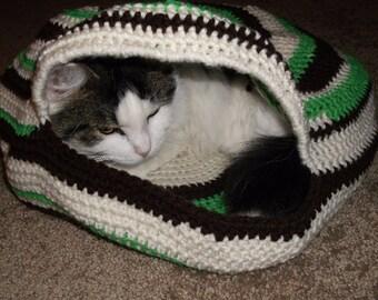 Hand Crochet Cat Cozy or Cat Bed, Cat Cave, Pet Bed in MULTI COLORS