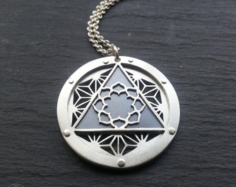 Asanoha Lotus Pendant - triple layer sterling silver and oxidised copper - Handcrafted Sacred Geometry Jewellery