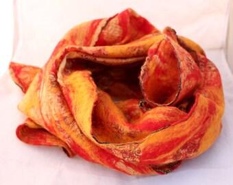 SSFS03- Recycled Silk Felt Scarf Stunning Orange  Red Shade