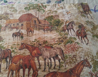 Vintage Horse Curtain Panels Equine English Hunter Jumper Barn Country