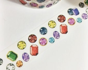 Bright Colorful Shiny Diamonds Gemstones Jewels Rainbow Gems Washi Tape 11 yards 10 meters 15mm