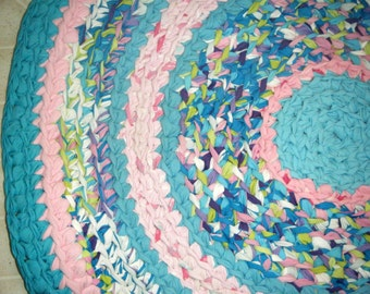 Aqua Blue and Pink Handmade Rag Rug - for Etsy