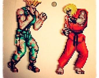 Street Fighter II Character - XL Hama bead sprite room decoration