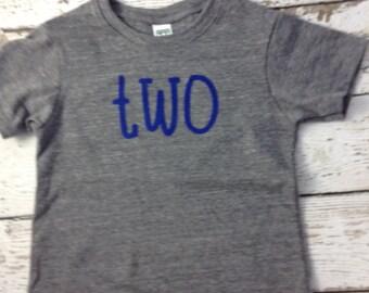 Ready to Ship second birthday shirt , two shirt, boy's birthday shirt, blue and grey, simple children's shirt