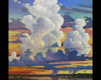 LARGE 30x24 inches Art SALE Painting Impressionism Landscape Abstract Sky Glorious Clouds Wm HAWKINS  Oil original on Canvas