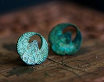 Egyptian Scarab Earrings Patina Scarab Stud Earrings Verdigris Scarab Dangle or Stud Egyptian Earrings - E102