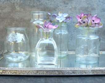 5 Small Clear Glass Bottles, Assorted Vases, Cottage Wedding Decor, Minimalist Neutral, Shabby Chic, Instant Collection