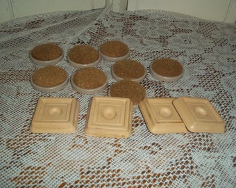 12 Pc Lot mid century floor protectors furniture leg cups, carpet on one side, round discs plus 4 Daisy rubber