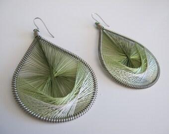 Green Woven Earrings