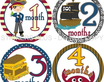 SALE Baby Month Stickers Monthly Baby Stickers Milestone Stickers Baby Bodysuit Monthly Stickers Plus FREE Gift Boy Pirate Ship Treasure Che