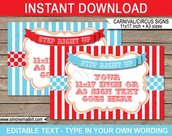 Circus Game Signs - Circus Party or Carnival Party - INSTANT DOWNLOAD with EDITABLE text - pdf templates - 11x17 inches and A3 sizes