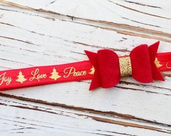 Christmas Bow Headband - Baby Christmas Bow Headband - Red Bow Headband - Christmas Headband