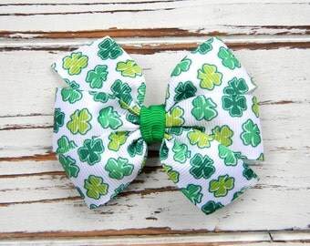 St. Patrick's Day Pinwheel Bow - Clover Hair Bow - St.- Patrick's Day Hair Bow