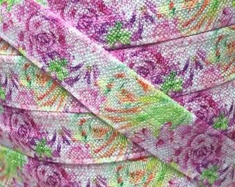 """5/8"""", Watercolor Floral FOE, Fold Over Elastic ,Flowers, Elastic by the Yard, DIY Hair Ties, DIY Headband, Elastic Hair Ties, (002)"""
