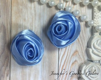"Set of TWO Light Blue 2"" Satin Rosette Flower Heads, Rolled Roses Wholesale Mini Rosettes for Baby Headbands"