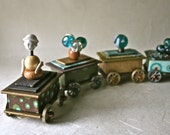 Handmade Train with Four Box Cars in Browns and Teals for Gift or Decor