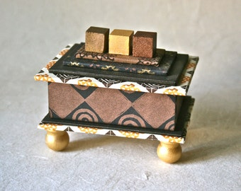 Small Handmade Gift Box in Metallics Brown and Yellow for Home or Office Decor